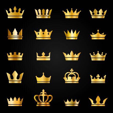 Goldkronensymbole. Queen King goldene Kronen Luxus Royal auf Tafel, krönende Tiara heraldischer Gewinner Award Jewel Vector Set für Qualitätslabel Vektorgrafik