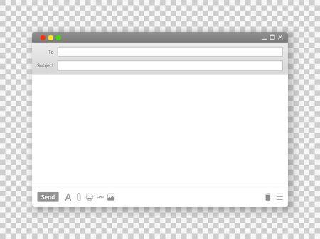 Finestra di posta elettronica. Interfacce dell'interfaccia della cornice del messaggio di testo vuoto per il sito Web di Internet su immagine dello schermo del campo minimalista di vettore di sfondo trasparente