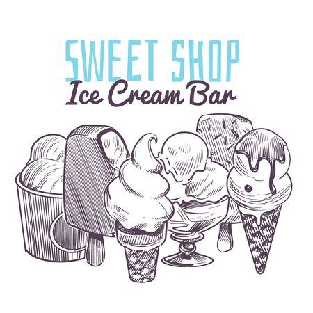 Ice cream sketch background. Hand drawn frozen creamy desserts, wafer cone sundae chocolate glaze fruits nuts retro vector restaurant menu with popsicle design