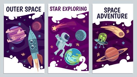 Cartoon space flyers. Astronomy future presentation. Galaxy explorers, universe journey with astronaut, comet and rocket vector poster with earth, planets and star for futuristic cover