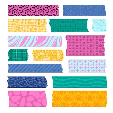 Scrapbook tape. Color patterned borders, decoration adhesive tapes. Paper scotch strips, colorful fabrics tags vector prints and pieces for scrapbooking card Ilustrace
