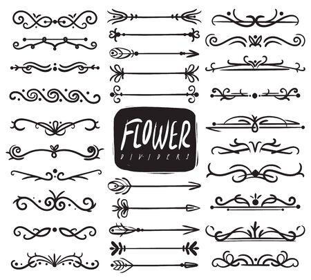 Divisores de adornos florales. Divisor ornamental y adornos de hojas de boceto, flechas decorativas, bordes de vid dibujados. Vector doodle colección ornamentada caligráfica