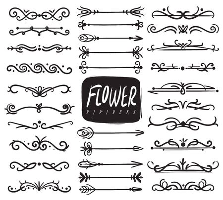 Flower ornament dividers. Ornamental divider and sketch leaves ornaments, decorative arrows, drawn vine borders. Vector doodle calligraphic ornamented collection Иллюстрация