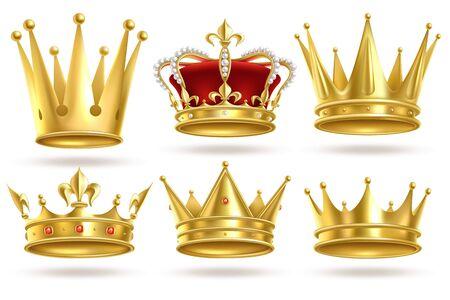 Corone d'oro realistiche. Re, principe e regina corona d'oro e decorazione araldica reale diadema. Monarca 3d vettore isolato incoronazione royalty segni Vettoriali