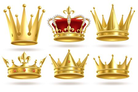 Realistic golden crowns. King, prince and queen gold crown and diadem royal heraldic decoration. Monarch 3d isolated vector coronation royalty signs