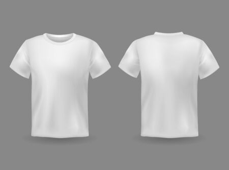 T-shirt mockup. White 3d blank t-shirt front and back views realistic sports clothing uniform. Female and male clothes vector wearing clear attractive apparel tshirt models template Фото со стока - 130071021