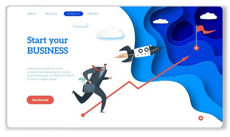 Startup landing. Web page or website for easy start up strategy creative project and internet starting your business vector concept with rocket and entrepreneur 일러스트
