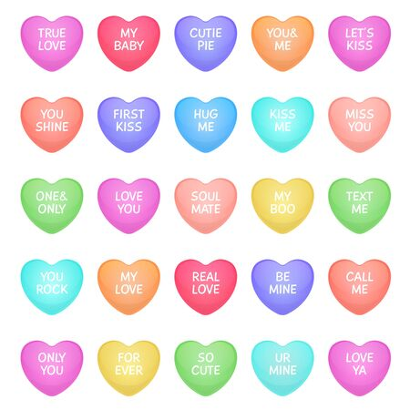 Hearts shape candies. Cute valentine heart shapes of candy with love writings, love message sweets for romance communication. Vector colorful sweetheart with flat letter pattern icons Archivio Fotografico - 130071029