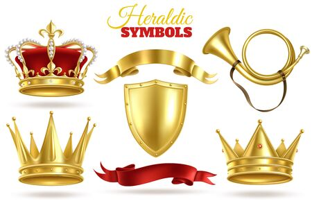 Realistic heraldic symbols. Golden crowns, king and queen gold diadem. Trumpet, shield and ribbons royal vintage vector monarchy royality luxury medieval decoration