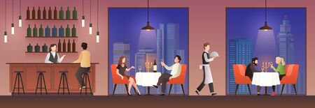 People in restaurant. Families having lunch in food court, men women meeting eating meal drink, dinner cafe buffet flat vector concept with elegant sitting couple Ilustracja