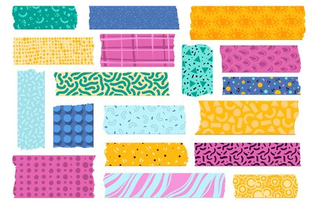 Washi tape. Japanese paper tapes for photo decoration, colorful patterns scotch strips. Torn fabric border stickers vector kids scrapbook card set