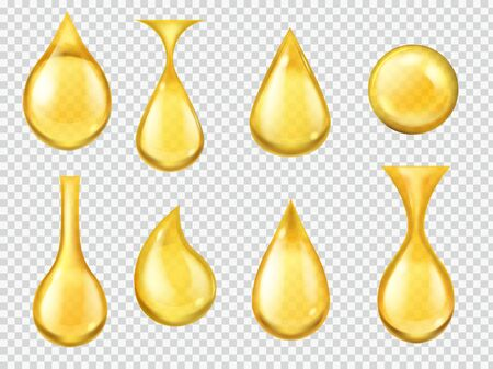 Realistic oil drops. Falling honey drop, gasoline yellow droplet. Gold capsule of liquid vitamin, dripping machine oil isolated clear nature transparent fuel motion vector