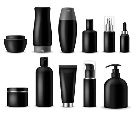 Prototipi cosmetici realistici. Bottiglia, contenitore e barattolo neri dei cosmetici. Prodotti di bellezza per le donne. Spray, sapone e crema erogatore vettoriale 3d bellissimo pacchetto di plastica di lusso Vettoriali