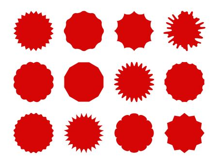 Starburst stickers. Star shaped sale banners, speech bubble stickers. Red explosion signs, promo price coupon tag vector isolated burst shapes and silhouettes for offering, simple pricetag set Çizim