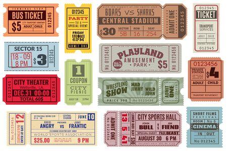 Retro-Tickets. Vintage-Kinoticket-Konzert und Festival-Event, Kinogutschein. Zirkusshow, Karnevalseinladung für Tombolapapier oder Zugticket-Vektorset Vektorgrafik