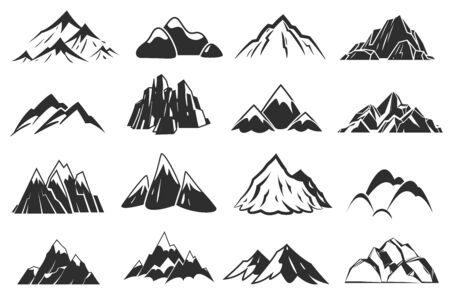 Mountain icons. Mountains top silhouette shapes, snow rocky range. Outdoor landscape hill peaks symbols vector hand drawn climbing mont nature isolated set