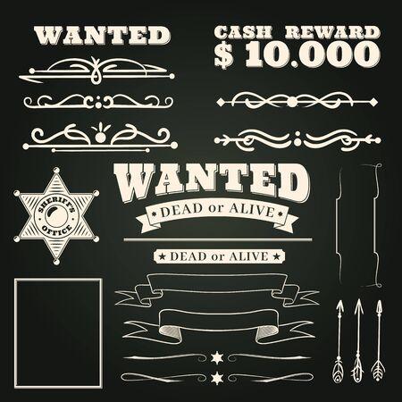 Cercasi ornamenti. Modello di tatuaggi country vintage western saloon ed elementi di scorrimento cornice cowboy su sfondo scuro illustrazione di design di badge nastro selvaggio west vettoriale