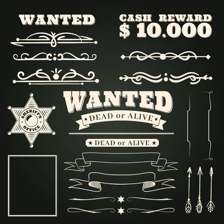 Wanted ornaments. Country vintage western saloon tattoos pattern and cowboy frame scroll elements on dark background vector wild west ribbon badges design illustration Stok Fotoğraf - 129993289