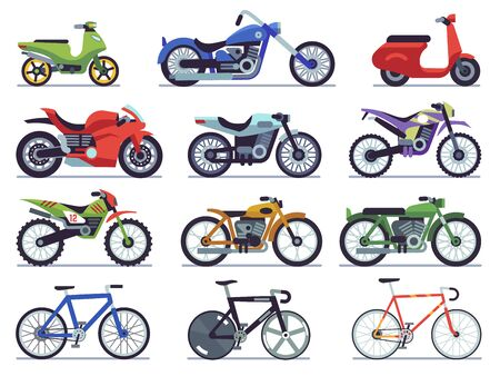Juego de motos. Moto y scooter, sport bike y chopper. Carrera de motocross y vehículos de entrega vista lateral icono de motociclismo plano vectorial aislado en fondo blanco