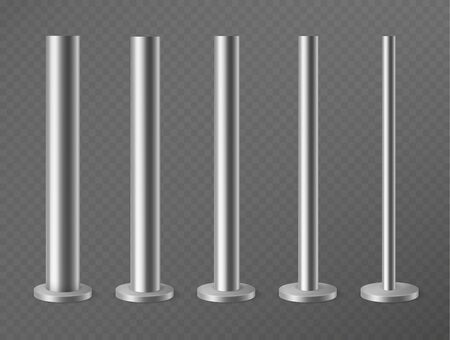 Metal pillars. Steel poles for urban advertising banners, streetlight and billboard. Steel columns in round section 3d vector pipes vertical mockup stand set Foto de archivo - 129993305