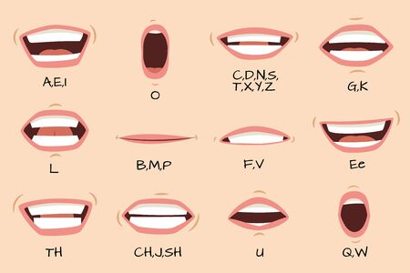 Mouth sync. Talking mouths lips for cartoon character animation and english pronunciation signs. Vector isolated female emotions and speaking articulation set