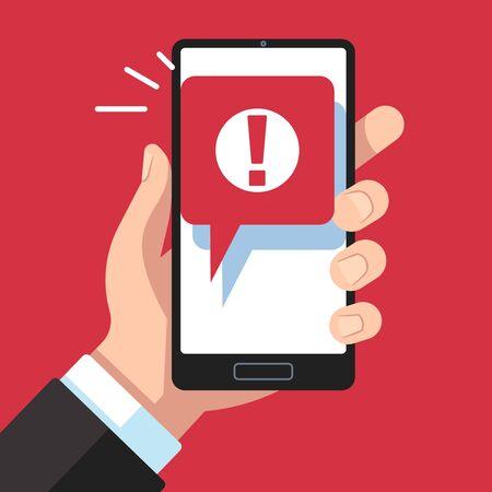 Mobile Benachrichtigung mit Warnmeldung. Hand hält Smartphone mit Ausrufezeichen, Virusbenachrichtigung auf dem Telefonbildschirm, Vektorrotfehler oder Konzept zur Verhinderung von Spam-Messaging-Geräten