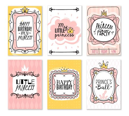 Princess cards. Vintage cute pink frame with gold crown, girl birthday invitation card, baby shower greeting card vector kids queen decor elements for mirror or border decoration