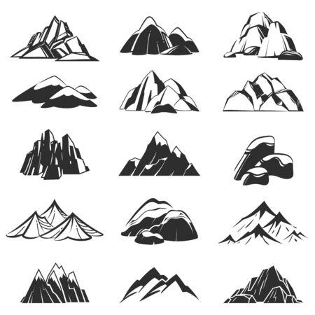 Simboli di montagna. Profili le montagne con le etichette della neve della gamma, colline astratte delle alpi. Emblemi di escursionismo, esplorazione e campeggio vettore peak rock top set per l'avventura della spedizione