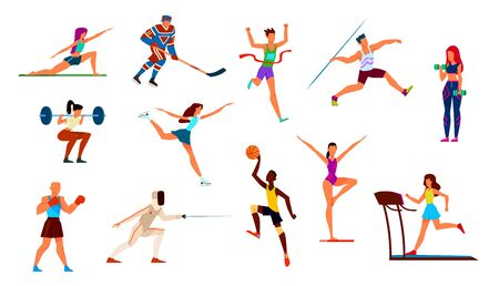 Athletes set. Gymnast and runner, boxer and figure skater, basketball player and hockey player. Fitness, cartoon vector gymnastics playing boxing performance sportsman