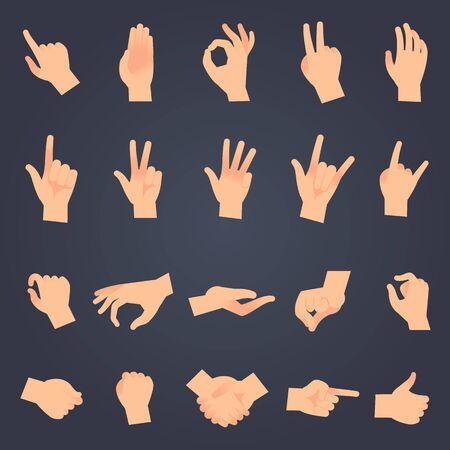 Posición de la mano establecida. Manos femeninas o masculinas que sostienen el gesto abriendo algo y tocando pose vector aislado que muestra diferentes objetos de símbolo de signo