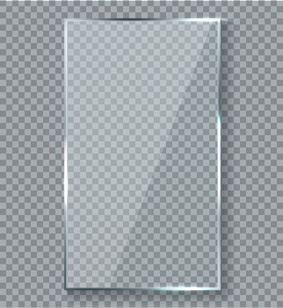 Glossy reflection effect. Transparency window glass plastic with brightreflections plaque vector reflective isolated mockup gloss transparent glare realistic panel texture