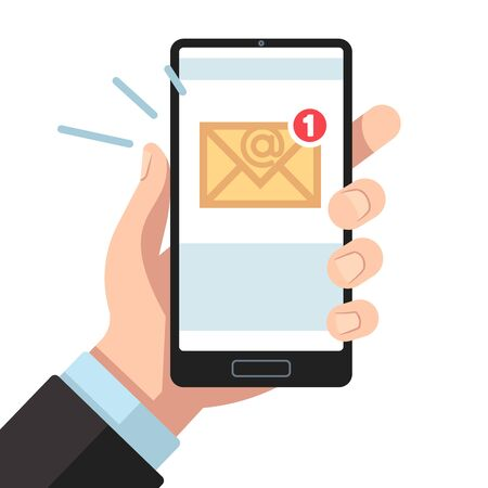 Email notification on smartphone in hand. Inbox unread mail, new emails message. Sending letters receive mobile mailings vector phone reading texting sms or reminder concept