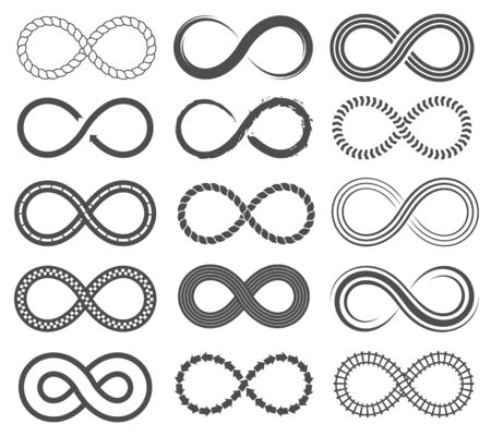 Infinity symbols. Endless loop shape, unlimited signs, eight isolated vector symbolism logos infinite black geometric icons, different emblem silhouette set