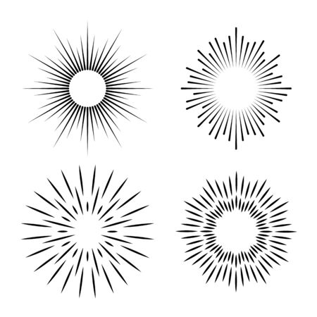Simple ray set. Hand drawn geometry gold burst sun star rays vector minimal radial line shape label fireworks shine glitter boom emblem art icons Иллюстрация