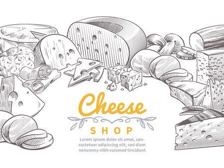 Sketch cheese background. Tasty cheeses brie, feta and parmesan slices gourmet snacks. Doodle sketch vintage vector italian kitchen design for restaurant concept Stockfoto - 129993041