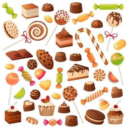 Caramelos dulces. Piruleta de bombón de caramelo, mermelada y fruta confitada. Chocolate y malvavisco, postres de vacaciones para niños vector plano sabores dulces conjunto aislado Ilustración de vector
