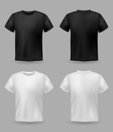 Modello di t-shirt bianca e nera. Modello di camicia bianca sportiva vista anteriore e posteriore, abbigliamento uomo e donna per abbigliamento alla moda uniforme realistica per set vettoriale di stampa tessile pubblicitario