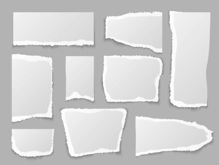 Torn paper. Ripped papers pieces, grainy scrap page. Blank message edges. Crumpled note, memo labels and shape square texture notebook isolated vector set