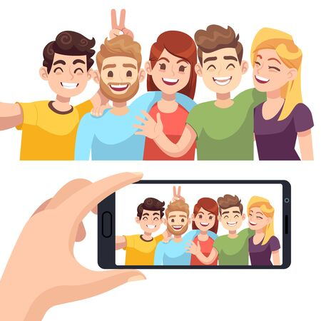 Group selfie on smartphone. Young happy people take selfie portrait, friendly smiling characters make photos on phone vector youth technology mobile for taking photo design