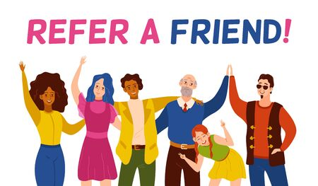 Refer a friend. Friendly smiling people group referring new user. Referral recommendation program, marketing suggestion vector flat style character reference shouting concept
