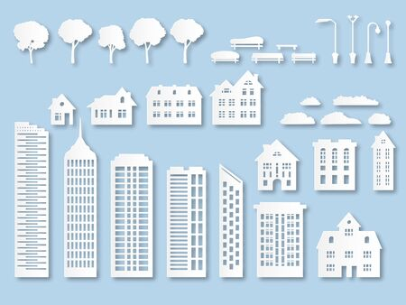 Paper buildings. Origami city houses with windows. Cardboard skyscrapers with lanterns, trees and benches. White paper cut vector design exterior town skyline park roof business office panoramic set