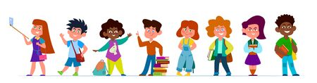 School children. Multiethnic boys and girls in casual clothes. Kids with backpacks and books in school time, vector cartoon creative chirlden education pupil characters Illusztráció