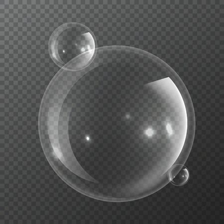 Bubble molecules. Macro fresh bubbly nature realistic transparency pure water or transparent liquid isolated vector abstract sphere 3d chemistry circle science illustration