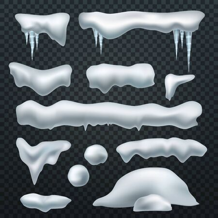 Realistic snow caps. Snowball, snowdrift and snowcap borders with icicles. Snow elements, new year and christmas winter vector beautiful creativity ice decoration