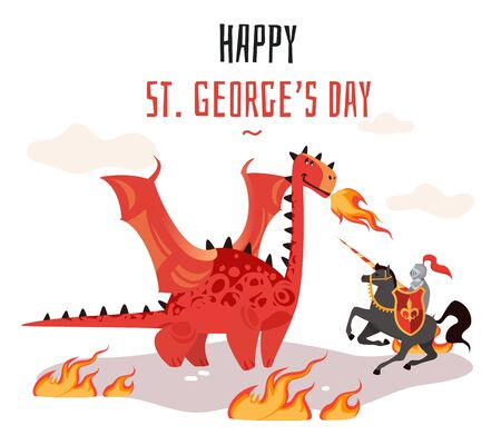 Georges day. Cartoon tradition happy saint george s green card with dragon and medieval tale legend knight vector shield, sword flag cross horse illustration