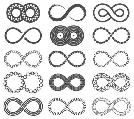 Infinity symbols. Mobius loop shape, unlimited and forever signs. Abstract motion, identity and eight shaped isolated vector line infinite limitless logos Banque d'images - 129993087