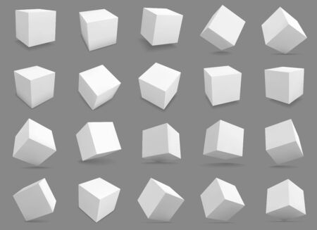 3d cubes. White blocks with different lighting and shadows, boxes in perspective. Abstract geometric square shapes vector distorted model structures render grey collection 向量圖像