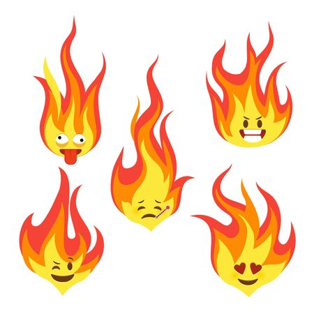 Fire character icons. Hot flame cute emoji with angry and smiles happy characters comic style vector fun faces feel silent eyes reaction emoticon set for chat