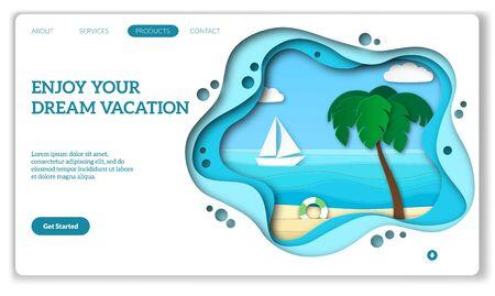Vacation web page. Natural tourism landing for media travel internet beauty website or mobile app vector summer resort advertisement mockup 写真素材 - 129993107