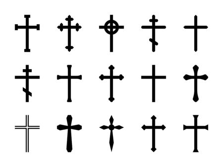 croci cristiane. Crocifisso a croce cattolica, ortodossa e celtica. Fede e preghiera religiosa, segno della chiesa di Cristo vettore isolato decorativo set di icone di risurrezione di contorno incrociato